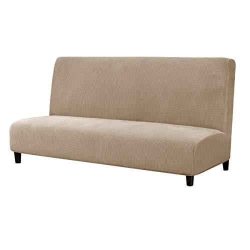 subrtex Sofabezug ohne Armlehnen Stretch Abdeckung Husse für Sofabett Sofaüberzug Armless Antirutsch (Sand)