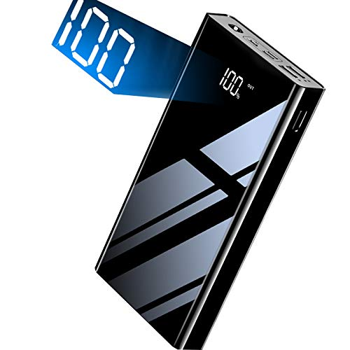 KKSKYモバイルバッテリー 大容量 30000mAhコンパクトスマートフォンバッテリー 急速充電 3in1入力ポート(Lightning /マイクロUSB / Type-C)ライン1チャージャー/ 2USBポートポータブルチャージャー最大2.1A出力[PSE認証]バッテリーストレージLCD残りのディスプレイバンド LEDライトiPhone&Android&Type-C対応モデル旅行/旅行/緊急用P8ブラック (黒)