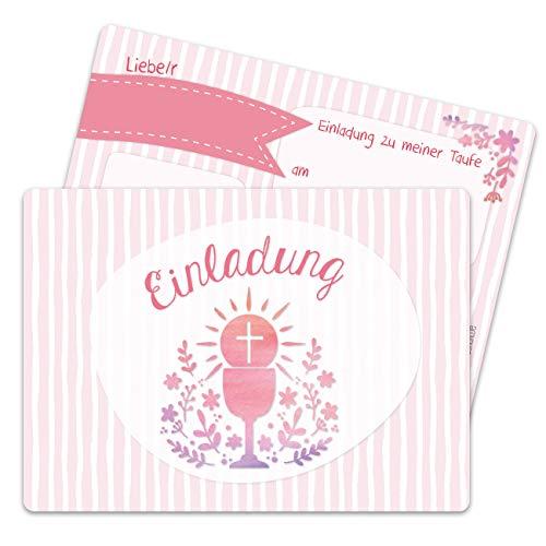 13 Einladungskarten zur Taufe - Motiv Kelch und Blumen rosa - Einladung zur Heiligen Taufe für Mädchen und Jungen - hochwertig gedruckt in DIN A6