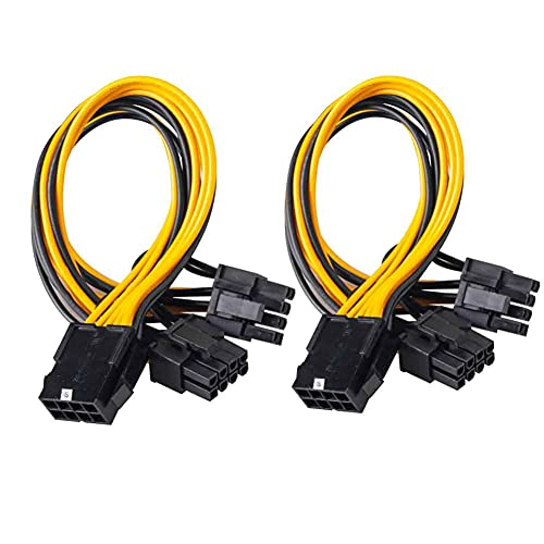 Owltree 2Pack EPS CPU 12V 8 Pin to Dual 8 (6+2) Pin VGA Graphic Video Card GPU Adapter Power Supply Splitter Cable 20cm (for CPU)