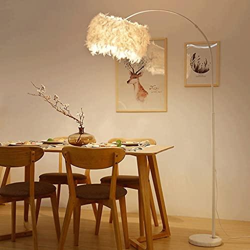 QFFL Lámpara de Pie Decorativa Feather, Luz de Poste Moderna de Pie Ajustable, Base de Mármol, Portalámparas E27, para Dormitorio, Oficina