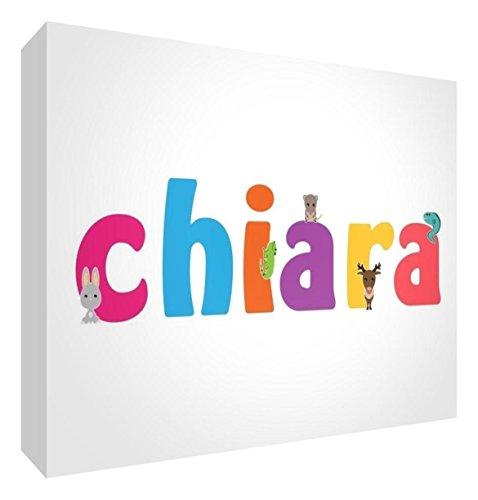 Little Helper LHV-CHIARA-A7BLK-15IT Pannello Decorativo Neonato/Battesimo Idea Regalo, Disegno Personalizzabile con Nome da Ragazza Chiara, Multicolore, 7.4 x 10.5 x 2 cm