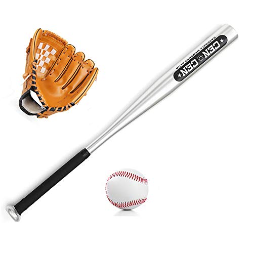 IDE Con Baseball-Set, Holz-Schläger, Ball & Baseballhandschuh, Alter BallLittle Liga Set Junior Baseball Kit Multicolor 25, Kinder Mixed Baseball Set,Braun