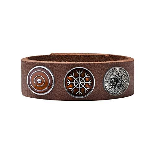 Quiges Damen 18mm Druckknopf Armband aus Leder Kastanienbraun mit Braune/Versilberte Click Buttons