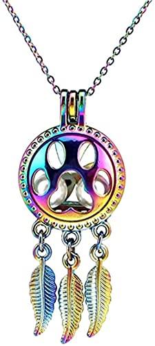 NC190 Collar de atrapasueños de Belleza, Almohadilla de Gato, Colgante de Jaula de Hojas, difusor de Aceite Esencial de Aroma, Collar de medallón, Longitud 45 cm