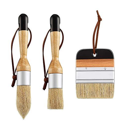 3 Stück Farbwachsbürste, Holzbürsten Set Kreidebürste Borstenbürsten Set Runde Farbbürsten zum Malen Wachsen von Holzmöbeln