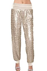 Champagne Color Sequin With Velvet With Cuffs Pants