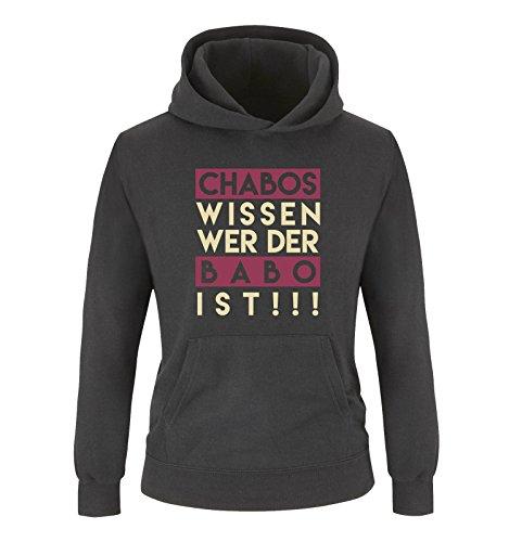 Comedy Shirts - Chabos wissen wer der BABO ist! - Mädchen Hoodie - Schwarz/Beige-Fuchsia Gr. 128