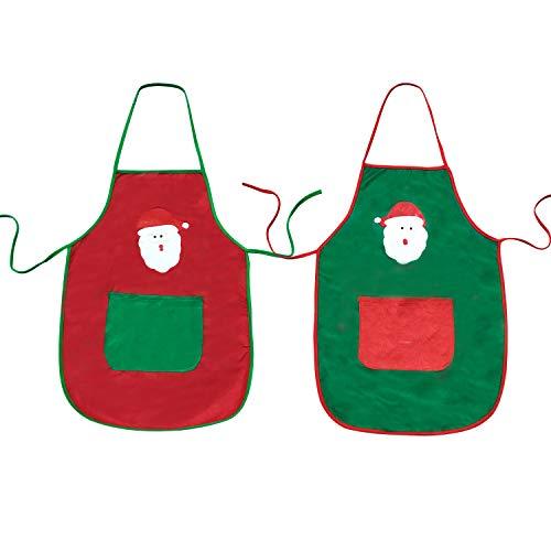 2 Pcs Christmas Apron Santa Claus Apron with Pocket Kitchen Cooking Grilling BBQ Baking Couple Apron for Men Women, Red & Green Christmas Apron