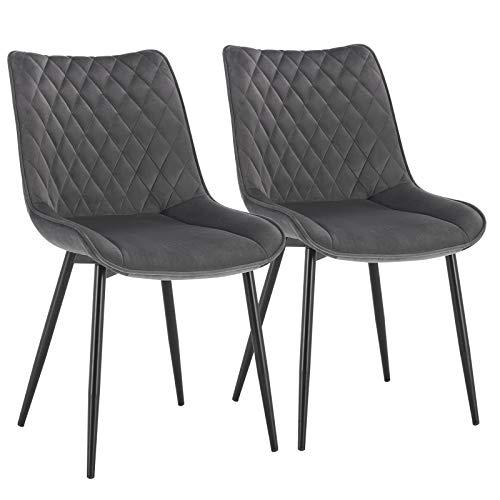 WOLTU® Esszimmerstühle BH209dgr-2 2er Set Küchenstuhl Polsterstuhl Wohnzimmerstuhl Sessel mit Rückenlehne, Sitzfläche aus Samt, Metallbeine, Dunkelgrau