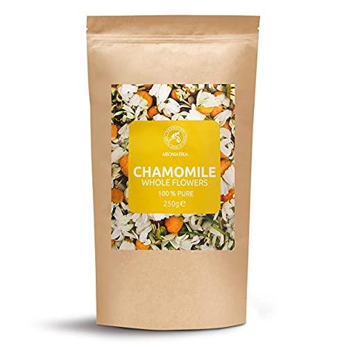 Flores de Manzanilla 250gr - Manzanilla Egipcia - Té de Hierbas - Manzanilla Flores Secas Sueltas - Té Calmante y Relajante - Té de Manzanilla Fragante - Vegetariano - Vegano - Sin Cafeína