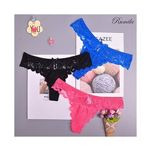 Linyuex Frauen Spitze bequem und atmungsaktiv Zapfen G-Schnur Unterwäsche-Schlüpfer Slips for Damen T-Back (Color : 87169heislanxgh, Size : Large)
