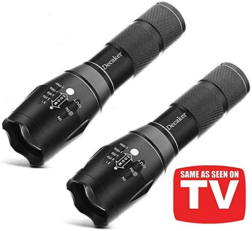 Tc1200 Tactical Flashlight,LED Taclight As Seen On TV with Magnetic Base Super Bright 2000 Lumens 5 Light Modes Zoomable XML T6 LED Flashlights Torch,2-Pack