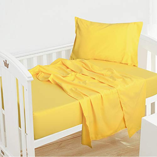NTBAY 3-Piece Microfiber Toddler Sheet Set, Solid Crib Fitted Sheet Flat Sheet and Envelope Pillowcase, Baby Bedding Sheet & Pillowcase Sets, Yellow