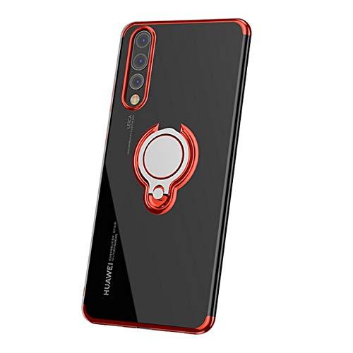 Funda de silicona compatible con Huawei P20 Pro, 360 grados, anillo de metal, soporte para teléfono móvil, transparente, de goma, con imán y soporte para teléfono móvil rojo talla única