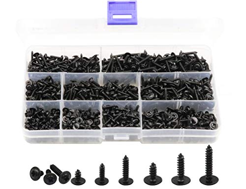 LBY 900pcs M2.3 M2.6 M3 Phillips Truss Head Self Tapping Screws, Wafer Head Screws, Pan Head with Washer Screw 9 Sizes Self Tapping Screws Assortment Kit, Carbon Steel Blacking