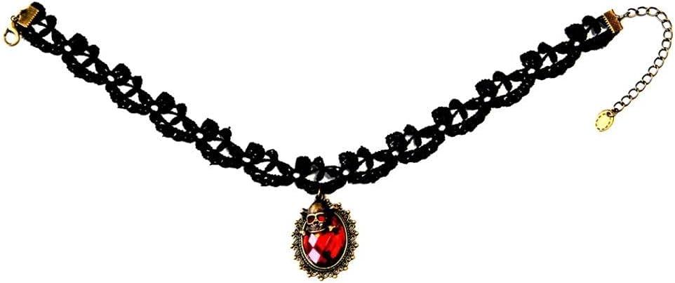 Choker Gothic 1pcs Lace Pendant Collar Vintage Decorative Skeleton Collar Lace Necklace Gothic Retro Choker for Women Girl C