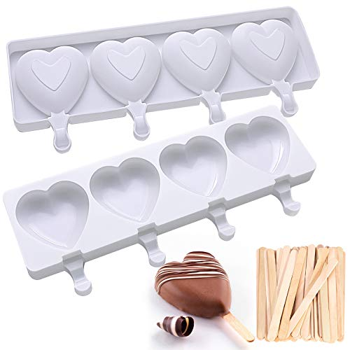 Ice Pop Molds 4 Cavities 3D Heart Shape Ice Cream Mold Homemade Silicone Popsicle Molds Ice Cream Mold Reusable Soft SiliconeSilicone Popsicle Molds CakeCakesicle Mold for DIY Ice Pops