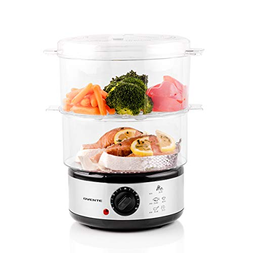 Ovente Electric Food Steamer 7.5 Quart with BPA-Free 3 Tiers Stackable Baskets for Vegetable and Food, 400 Watts Steamer with 60 Minute Timers, Easy to Clean and Compact, White (FS53W)
