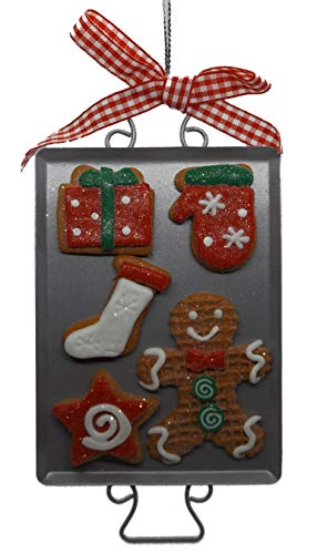 On Holiday Gingerbread Cookie Sheet C with 6 Assorted Gingerbread Cookies, Mitten, Package Stocking, Star, Gingerbread Man Christmas Tree Ornament