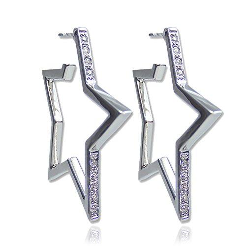 Stern Creolen mit Kristallen von Swarovski® Silber Ohrringe NOBEL SCHMUCK