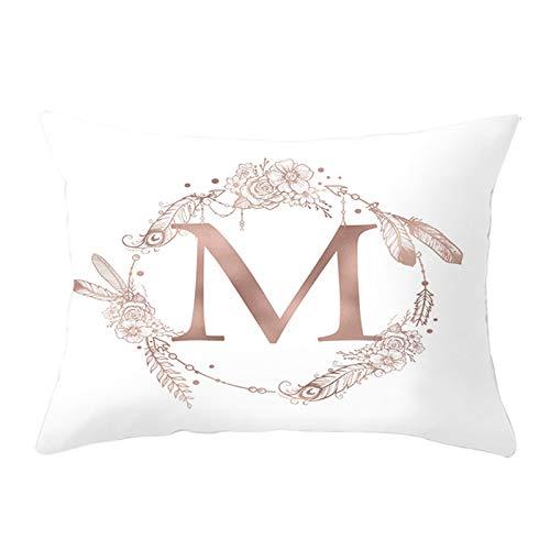 Adokiss Fundas de almohada de poliéster con corona de 12 letras M, suaves, cómodas, rectangulares, para el hogar y el sofá, decoración de dormitorio, color blanco, M, 30 x 50 cm