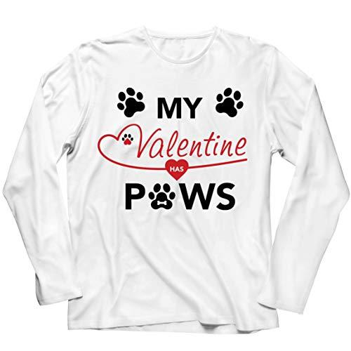 lepni.me Camiseta de Manga Larga para Hombre Mi San Valentín Tiene Patas Lindo Gato Mamá Perro Papá Amante de Las Mascotas Regalo