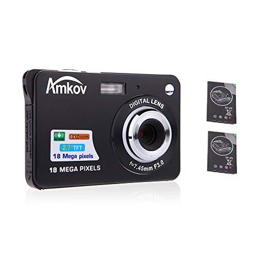 """AMKOV Compact HD Digitalkamera Video Camcorder 18MP 2,7\""""TFT 8X Zoom Smile Capture Anti Shake mit 2 Batterien Weihnachten Festival Geschenk"""