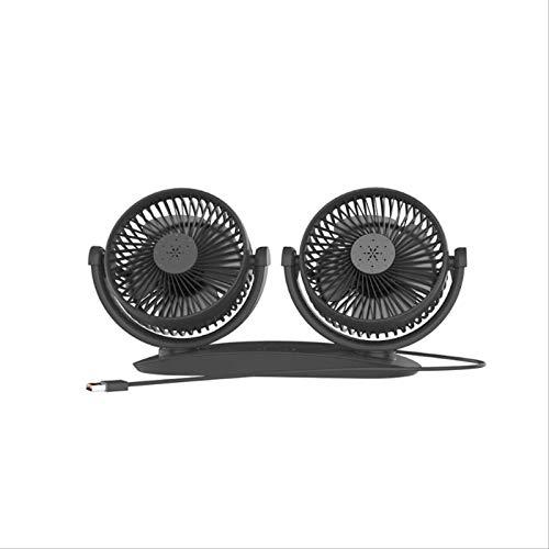 Doble Cabeza 360 Grados Usb Alimentado 3 Velocidades Ajustable Tablero De Control De Coche Refrigeración Aire Usb Ventilador Para Vehículos Suv Home Office 133.2x9.6x16.5cm negro
