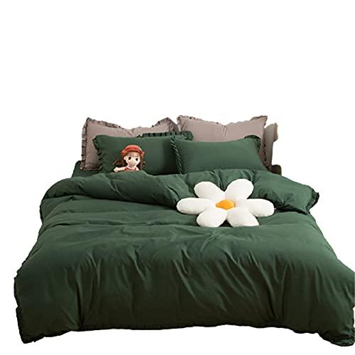 KFGF Factory - Juego de ropa de cama suave de algodón lavado de cuatro piezas, agradable al tacto, para estudiante dormitorio de cama verde esmeralda 2 m
