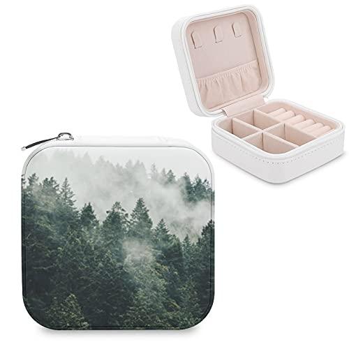 Organizador de joyas de viaje para niñas y mujeres, regalo de árbol de pino en la niebla en Oregon, estuche portátil de almacenamiento de joyas para anillos, aretes y collares