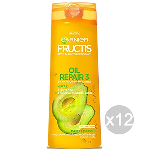 Set 12 FRUCTIS Shampoo Oleo Repair -3 Capelli Secchi Dann Cura Dei Capelli