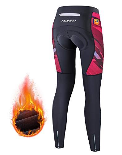 NICEWIN Pantalones de Ciclismo para Mujer, Acolchados, Largos, con Asiento Acolchado, 4D, térmicos, Largos, Transpirables, de Secado rápido, elásticos, para Ciclismo