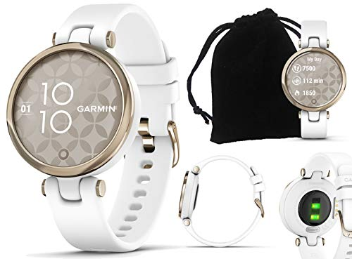 Garmin Lily Sport (Cream Gold/White) Smartwatch Bundle | with PlayBetter Protective Velvet Pouch | Small & Stylish Women's Smartwatch | Silicone Band | Fitness Smartwatch