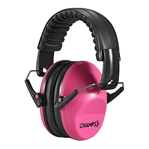Kids Ear Muffs Champs Earmuff Noise Protection Reduction Headphones for Toddlers Kid Children Teen NRR 25dB Safety Hearing Ear Muff Shooting Range Hunting Season [Pink]
