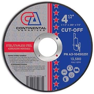 Continental Abrasives 4-1 2 Tucson Mall x .040 Popular product Thin Premium 8 Cuttin T27 7