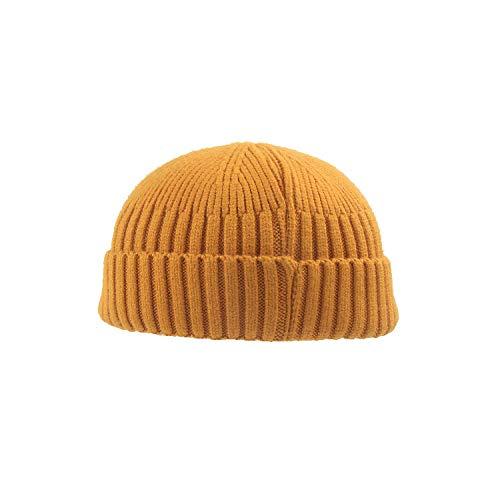 FPXNBONE Damen Wintermütze Slouch Beanie Winter,Kurze gewölbte Hooligan-Mütze, gestrickte Hip-Hop-Wollmütze-gelb_M (56-58cm),Strickmütze Damen Slouch Beanie