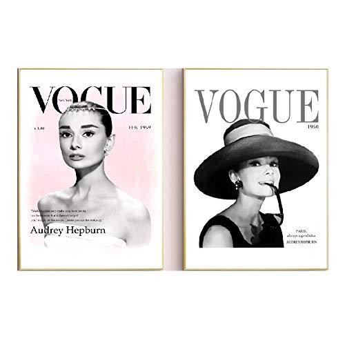 LTXMZ Vogue Arte HD Negro Blanco Cuadro Moda Audrey Hepburn Retrato Pintura NóRdico Poster Moderno Pared Salon Decoracion Marco De 40x60cmx2 No