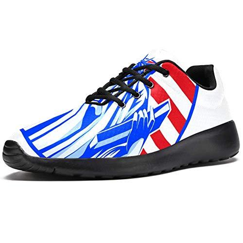 TIZORAX Laufschuhe für Herren, Freiheitsstatue in der amerikanischen Flagge, modische Sneaker, Netzstoff, atmungsaktiv, Wandern, Tennisschuh, Mehrfarbig - mehrfarbig - Größe: 39 1/3 EU