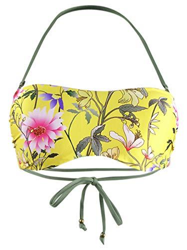 Lucky Brand Women's Bandeau Hipster Bikini Swimsuit Top, Yellow//Cruisin Coronado, M