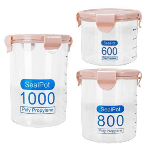 Phoetya Tarro de almacenamiento de alimentos de cristal transparente con tapa de bambú sellada, apto para caramelos, galletas, arroz, azúcar, harina, nueces (rosa).