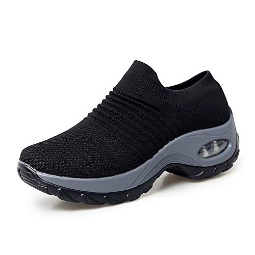 STQ Damen Schuhe Slip On Sneakers Freizeit Atmungsaktive Fitness Turnschuhe Plattform Air Leichte Outdoor Walking Schuhe(Schwarz39)