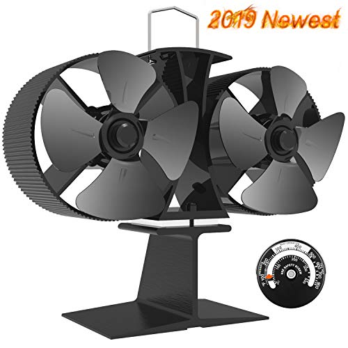 X-cosrack 8 Blades Wood Stove Fan Heat Powered Double Motor Fireplace Fan with Magnetic Thermometer for Wood Log Burner Slient Eco-Frienly Aluminium Black