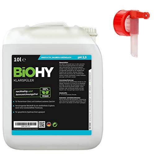 BIOHY concentraat voor wasmachine, 10 liter jerrycan + aftapkraan, geschikt voor alle vaatwassers, voor onovertroffen glans op glazen & servies zonder watervlekken