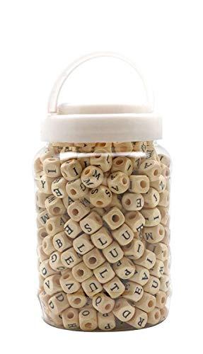 Holzperlen mit Buchstaben im Kunststoff-Eimer, ca. 400 Stück, naturfarben, je 9 x 9 x 9 mm groß, Lochgröße 3 mm, ideal für Armbänder, Ketten,