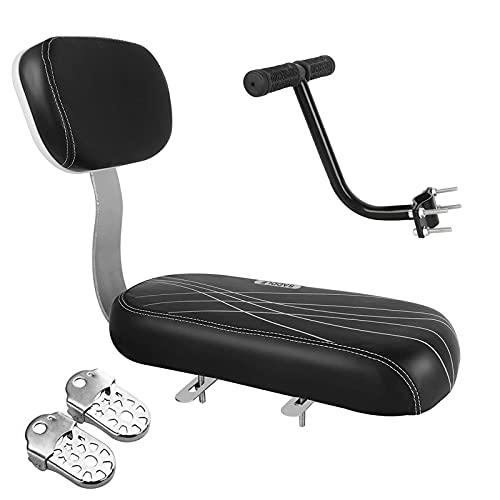 Samyoung Bicycle Rear Seat Cushion Armrest Footrest Set, Bike Child Seat Back Safety Cushion Armrest Handrail Rear Feet Pedals, Kids Bike Seat for Adult Bike (Black)