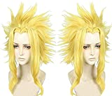 Anogol Hair Cap+Cosplay Wig Short Layered Yellow Halloween Party Wigs Synthetic Hair
