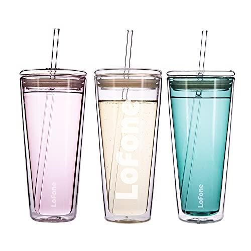 Vaso de vidrio de 20 onzas, taza de viaje de cristal, taza de café de doble pared de 600 ml con tapa y 2 pajitas (transparente)