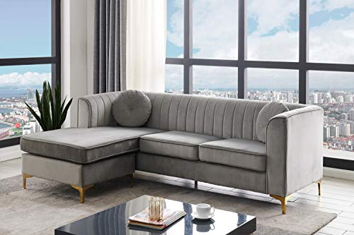 Iconic Home Brasilia Modular Chaise Sectional Sofa Velvet Upholstered Vertical Channel Quilted Seat Back Solid Gold Tone Metal Y-Legs with 2 Throw Pillows Modern Contemporary, Grey