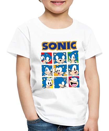 Spreadshirt Sonic The Hedgehog Émotions Hérisson T-Shirt Premium Enfant, 6 Ans, Blanc